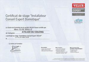 Certificat Vélux E.Boulle